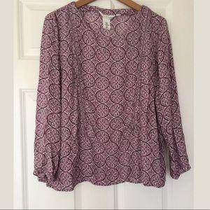 LOGG. H&M. Purple Printed Top. Size 12